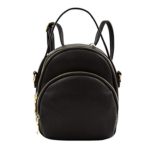 """Perfect size - 7.5"""" (L) x 3.9""""(W) x 9""""(H), weight 1.4 lb. Stylish - Crafted from pebbel leather with gold-tone hardware zipper closure. Comes with a 13 - 23 inch drop adjustable and detachable strap, that can be convertible to carry as backpack or cr..."""