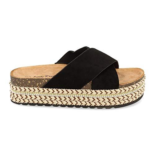 Sandalia de Mujer con Plataforma, Doble Pala Cruzada, Yute Decorado, y Talon Abierto, Primavera Verano 2020. Talla 38 Negro