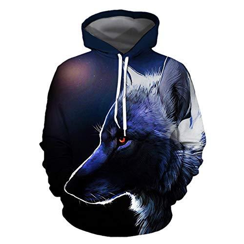 LUOYLYM 2019 Langarm Top Jacke New 3D Digital Print Wolf Sweatshirt Jugend Lose Große Größe Mit Kapuze Paar Sweatshirt Photo Color M