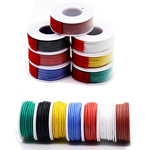 0.52mm² 20 AWG Silikon Elektrischer Draht Kabel anschließen Weich und flexibel Litzendraht aus verzinntem Kupferdraht Hohe 7 Farben je 7 Meter Spule Temperaturbeständigkeit 200 Celsius 600V
