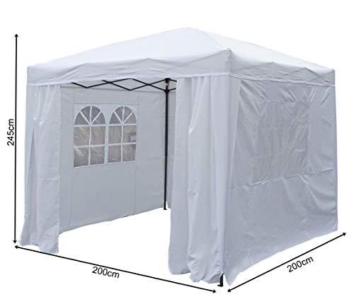 QUICK STAR Pop-Up-Pavillon 2 x 2 m Weiss mit Easy-Klett Seitenwänden mit 2 Reißverschlüssen