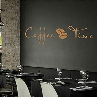 واقي استكر الحائط LINGBU Coffee Time Cafe Kitchen Wall Motto ملصقات فينيل قابلة للإزالة لأثاث المنزل ملصقات الحائط