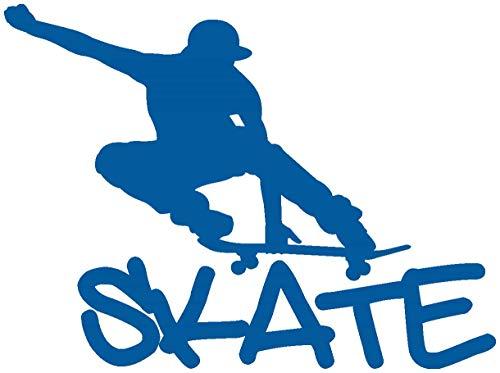 Samunshi® Wandtattoo Skate Skateboard Wandaufkleber in 10 Größen und 19 Farben (90x67cm Enzian)