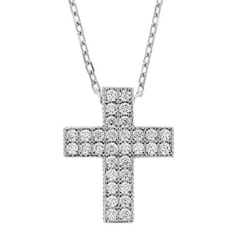 Echt goud dames zirkonia kruis met ketting sieradenset witgoud hanger gouden hanger set 2398