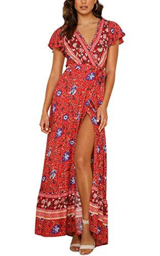 ECOWISH Damen Kleider Boho Sommerkleid V-Ausschnitt Maxikleid Kurzarm Strandkleid Lang mit Schlitz Rot L