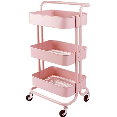 Rollwagen Metal Badwagen Mit Griff Schmale 2 Feststellräder Platzsparendes Universalrollwagen Mit Lochplatte Für Büro Garagen (Color : Pink)