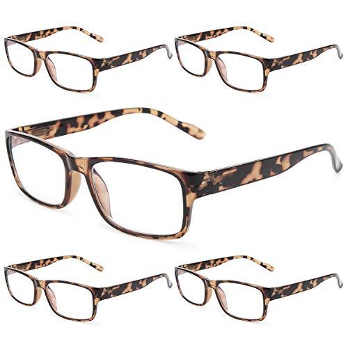 Gaoye 5-Pack Reading Glasses Blue Light Blocking,Spring Hinge Readers for Women Men Anti Glare Filter Lightweight Eyeglasses (5-Pack Leopard, 1.5)