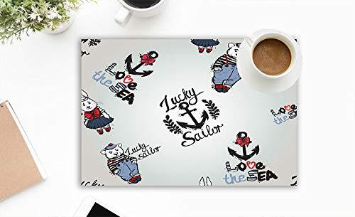 beautiful& schöne Sommer Ozean Mode Skizze Anker Waschbare Tischsets für Esstisch Doppel Stoff Druck Baumwolle Tischsets für Küchentisch 4er Set Tischmatte 12