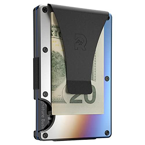 Cartera Tarjetero Metálica Titanio Uso Militar, RFID Bloqueo Garantizado Clonación Chips Digitales, Clip Sujeción Billetes Integrado (Color Titanium Burnt)