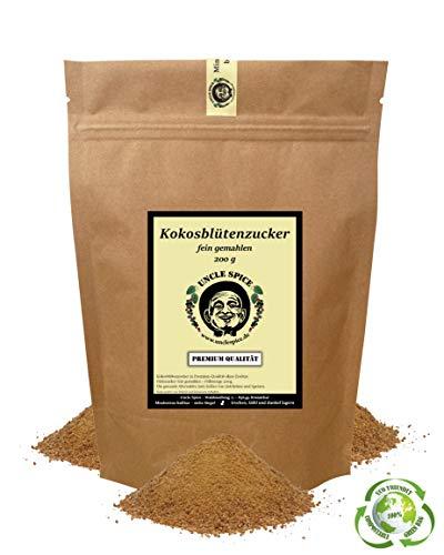 Uncle Spice Kokosblütenzucker - 200g feinster Kokosblüten Natur-Zucker unraffiniert - in Premium-Qualität - Kokos-Palmzucker aus 100% kontrolliertem Anbau , 1a Qualität