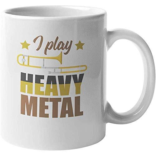 Ik speel zwaar metaal. Clever Koffie Thee Cadeaumok voor Mannelijke Vrouwelijke Trombonisten Trombone Studenten Instructeurs Muzikanten en Performers 11oz