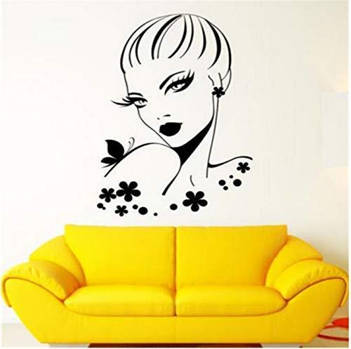 Vinyle Applique Murale Belle Femme Coiffure Salon Fille Maquillage Autocollants 55x88 cm