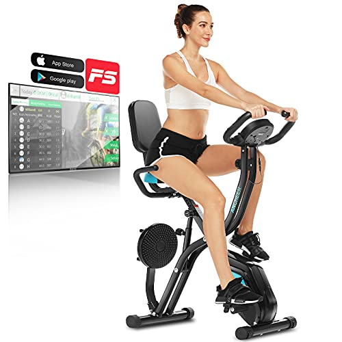 ANCHEER Vélo d'Appartement Pliant 3 en 1 Vélo de Fitness avec APP, Vélo d'exercice d'Intérieur avec Plaque Twister/10 Niveaux de Résistance Magnétique/Écran LCD/Support de Téléphone Portable (Noir)
