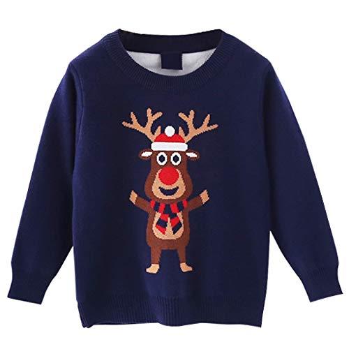 Vimukun Ragazze Ragazzi Natale Maglione Bimbo Inverno Pullover a Maglia Dinosauro Manica Lunga Tops Outfits 3-4 Anni