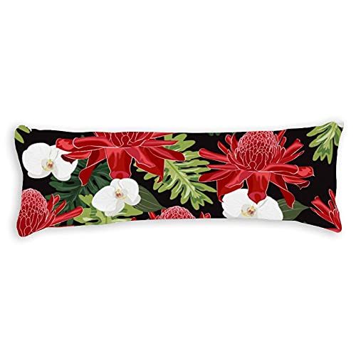 Body Pillow Cover Cotton 1,4m Red Torch Ingwer Seamless Pattern with White Orchid 137x50cm Body Pillow Case with Zip for Adult for Men for Kids