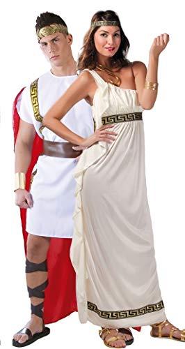 Fancy Me Paar Damen & Herren Römisch Historisch Antike Toga grichischer Griechisch Olypian Göttin Kostüm Verkleidung Outfit groß - Weiß, UK 12-14 - Mens Large