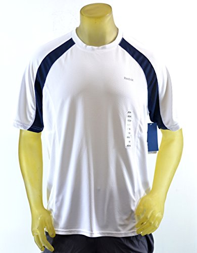 Reebok Men's Hydromove Athletic T-Shirt Short Sleeve (M) White/Navy