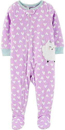 Carter's Toddler Girl's Fleece Sheep Heart Print Pajama Sleeper (4T) Purple