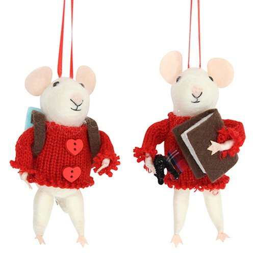 Gisela Graham : White Mice with Red Jumpers Decorations (set of 2)