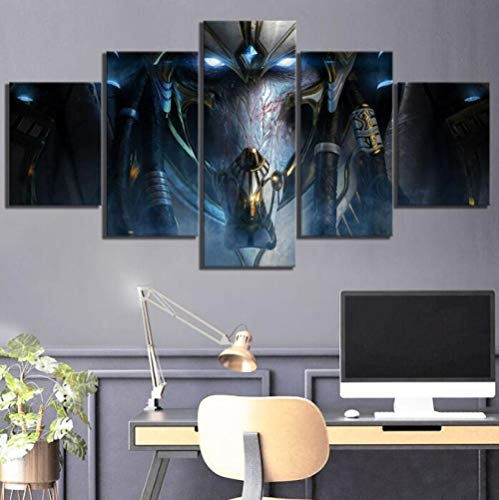 ZKPWLHS Impresiones sobre Lienzo 5 Piezas HD Fantasy Art Game Poster Paintings Starcraft 2 Legacy of The Void Videojuegos Poster Wall Art Decor [Tamaño B] Sin Marco