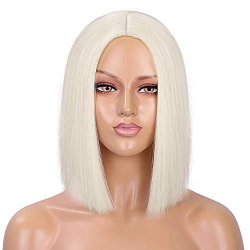ENTRANCED STYLES Platinum Blonde Wig Straight Hair Short Bob Wigs for Women Middle Part Shoulder Length Synthetic Wig Cosplay Halloween Party Wigs