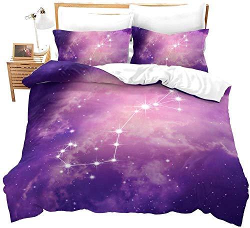 Evvaceo Juego de cama infantil de 3 piezas, funda de edredón de paisaje, constelación, vía lechosa, 135 cm x 200 cm, con 2 fundas de almohada 3D (individual)