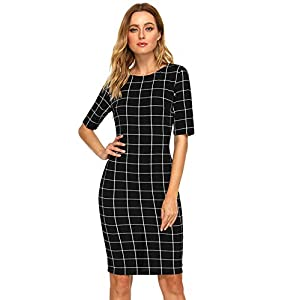 Women's Short Sleeve Plaid Grid Round Neck Pencil Bodycon Dress