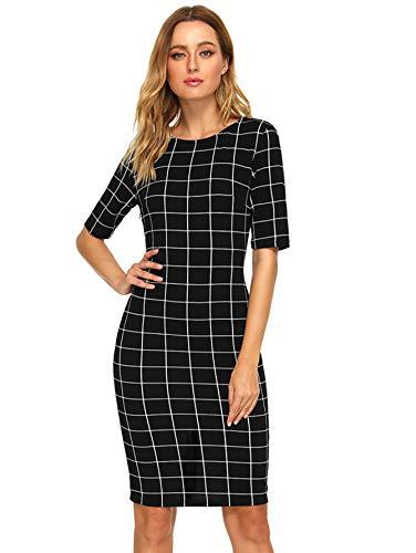 SheIn Women's Short Sleeve Plaid Grid Round Neck Elegant Sheath Pencil Bodycon Dress Large Black Grid