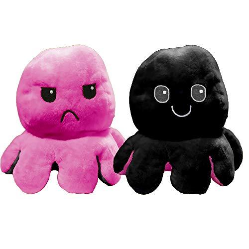 EUROXANTY Peluche Pulpo Reversible | Peluche emociones | Pulpo de Colores | Peluche Blando | 2 Caras | Pulpo Contento | Pulpo enfadado | 20 cm | Rosa-Negro