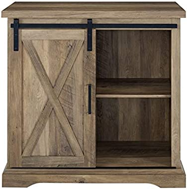 """Pemberly Row 32"""" Farmhouse Sliding Barn Door Wood Accent Chest Home Coffee Station Buffet Storage Cabinet in Rustic Oak"""