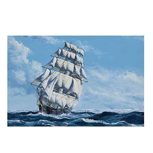 Leinwand Gedruckt Poster Wandkunst 1 Stück Segelschiff Im Meer Malerei für Wohnzimmer Seascape Bilder Wohnkultur-60x100 cm Kein Rahmen