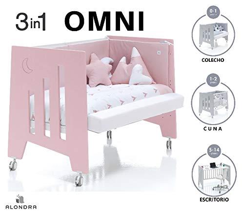 ALONDRA - Cuna bebé de COLECHO (3en1) OMNI Rosa 120x60 convertible en 3 etapas: cuna, colecho y escritorio, con 5 alturas de somier y ruedas C181-M7778, pack OMNI-K10 para niñas