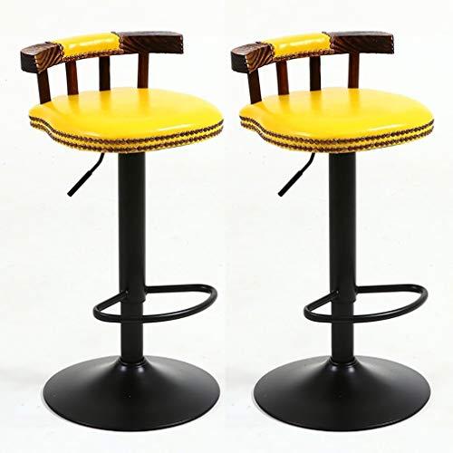 CYLQ barkruk, draaibaar, 2 stuks, hoogte van de barstandaard met rugleuning, verstelbaar, voor keuken, stoel, keuken, kunstleer, draaibaar, 6 kleuren, 60-80 cm