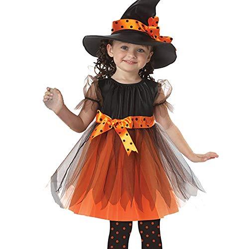 AZX Kinder Mädchen Halloween-Kleidung Set Fräulein Hexe Party Kleid Hut Festival Kostüm Kleid Baby Kleinkind Outfit Orange&Schwarz (120 cm)