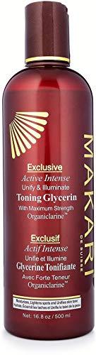 Activo e Intenso Tonificante de Glicerina de 16.8oz de la Línea Makari Exclusive –Aclarador para la Piel e Hidratante para el Cuerpo con Organiclarina™ -Tratamiento Blanqueador para Manchas Oscuras