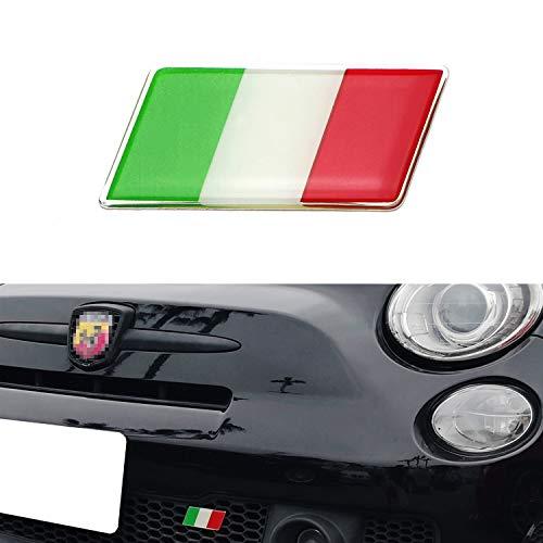 iJDMTOY Italian Flag Emblem Badge with L Shaped Mounting Bracket Fit Car Front Grille Compatible With Fiat Alfa Romeo Ferrari Maserati Lamborghini, etc