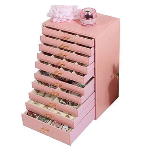Preisvergleich Produktbild Schmuckkästen Schmuckkästchen Haushalt Ankleidetisch Aufbewahrungsbox Multifunktions- Haushalt Aufbewahrungsbox Armband Ohrringe Aufbewahrungsbox (Color : Pink,  Size : 24 * 19.5 * 35.5cm)