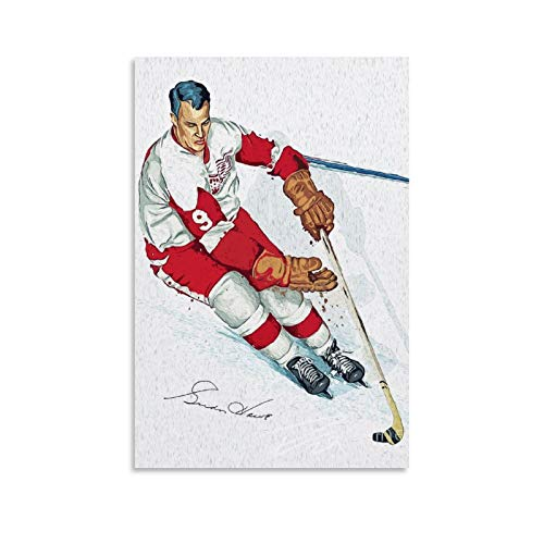 OIUER Hockey Player Gordie Howe Wall Decoration Painting Sports Poster Canvas Art Poster and Wall Art Picture Print Modern Family Bedroom Decor Posters 24x36inch(60x90cm)
