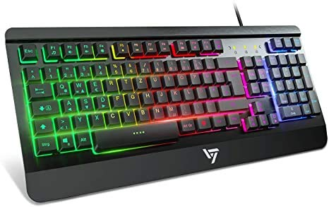 VicTsing Gaming Tastatur PC, Ganzmetallpaneel, Regenbogen beleuchtet Tastatur led, QWERTZ, 19 Tasten Anti-Ghosting, Handauflage, Wasserdicht, Wired Gaming Keyboard ideal Laptop für Gamer|Büro Schwarz