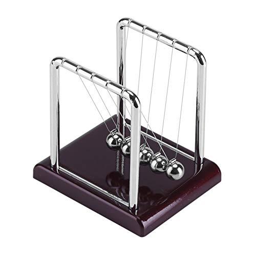 YUDIZWS Balón de Equilibrio de la Cuna de Newton Clásico, Base de Madera Physics Science Pendulum Steel Ball Desk Desk For Home Office Desk,Rojo
