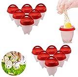 12 cuecehuevos de silicona, sin cáscara, fácil de pegar, antiadherente, para cocer huevos, accesorios de cocina