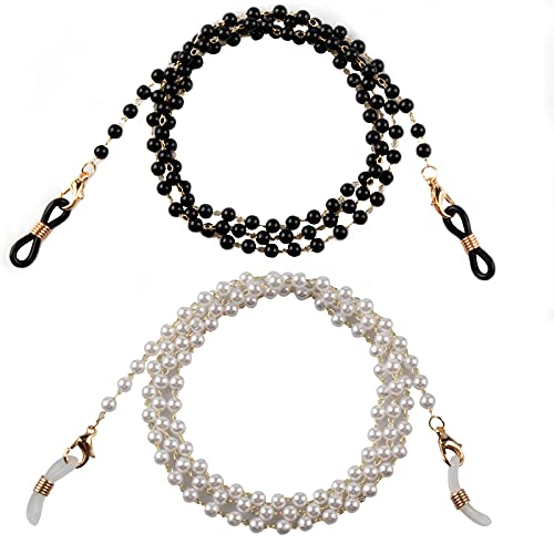 Zeayebsr Colgantes Para Mascarillas, 2 pcs Cordones para gafas de perlas,Correa de cadena con soporte para máscara, cordón para gafas, cadena para gafas, correa para gafas para hombres y mujeres