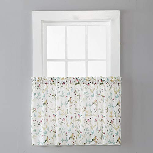 SKL Home by Saturday Knight Ltd. Aviary Curtain Tier Pair, 54 Inches x 24 Inches, Pastels