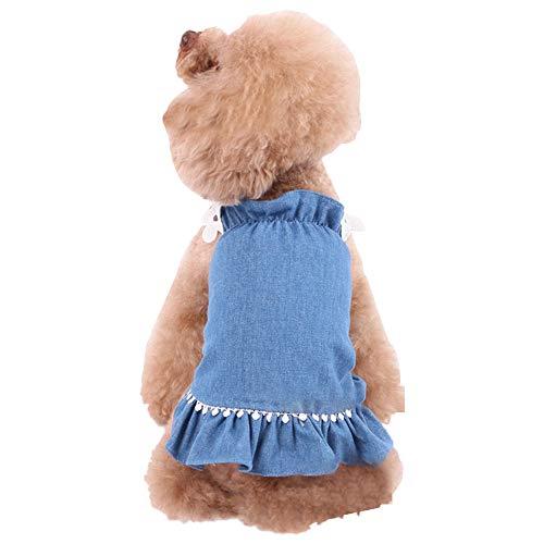 ICOUCHI ペット服 猫服 犬 服 ワンピース ドレス 春夏 ドッグウェア デニム スカート 袖なし 通気性 小型犬 中型犬 可愛い ペット洋服 お姫様 夏対策 … (XL, デニム)