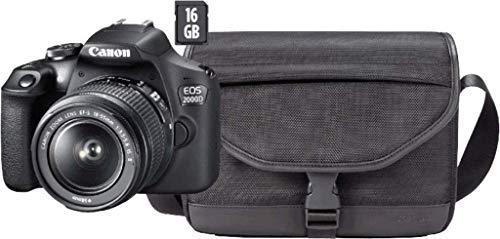 Canon EOS 2000D BK 18-55 is + SB130 + 16GB EU26 SLR-Kamera-Set, 24,1 MP, CMOS 6000 x 4000 Pixel, Schwarz – Digitalkameras (24,1 MP, 6000 x 4000 Pixel, CMOS, Full HD, Schwarz)