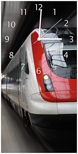 Wallario Design Wanduhr Fahrender Zug von vorn in rot- Perspektive von vorn aus Acrylglas, Größe 30 x 60 cm, weiße Zeiger
