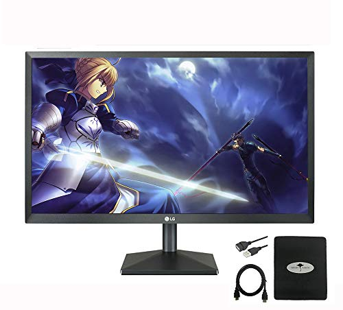 """2020 LG 24"""" IPS LED FHD FreeSync Monitor for Business and Student, 5 ms Response Time, 75 hz Refresh Rate, 178°, VGA, HDMI, 1000:1, Windows 10 w/Ghost Manta Accessories"""