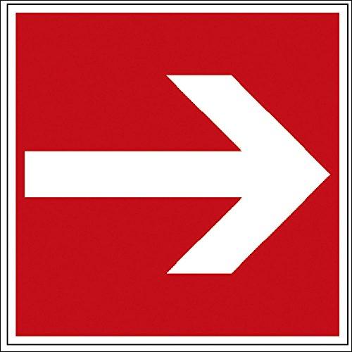 Hinweis- Schild - Brandschutzkennzeichen - Richtungsvorgabe - BGV A8, DIN 4844 und Arbeitsstättenverordnung 200 x 200 mm - K139/92