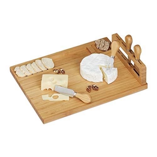 Relaxdays Tabla de Quesos con Cubiertos, Tenedor y Cuchillos para Duros y Blandos, 1 Set, Bambú-Acero Inoxidable, Marrón