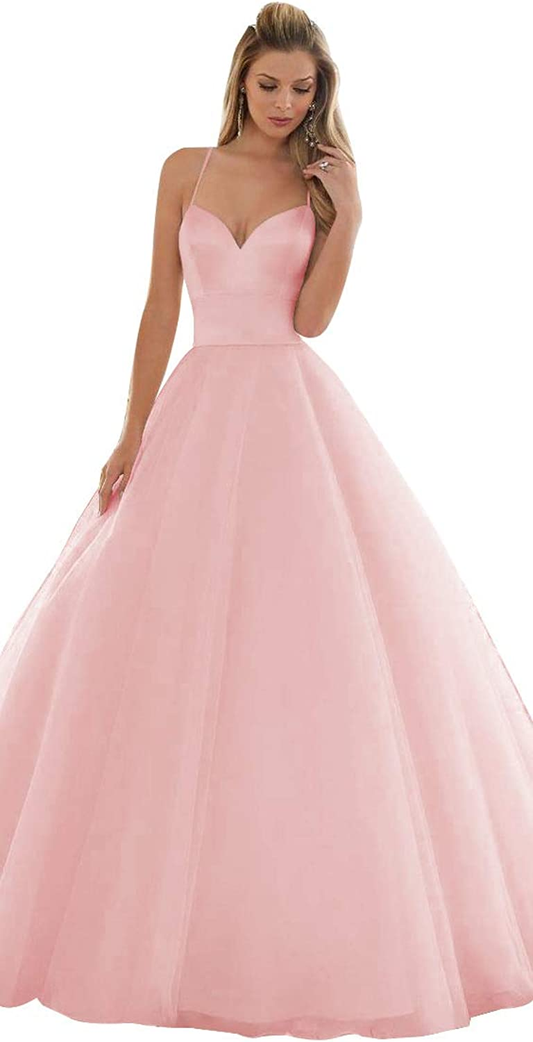 Spaghetti Wedding Party Dresses ALine Bridal Gowns Backless with Train Satin Tulle for Women